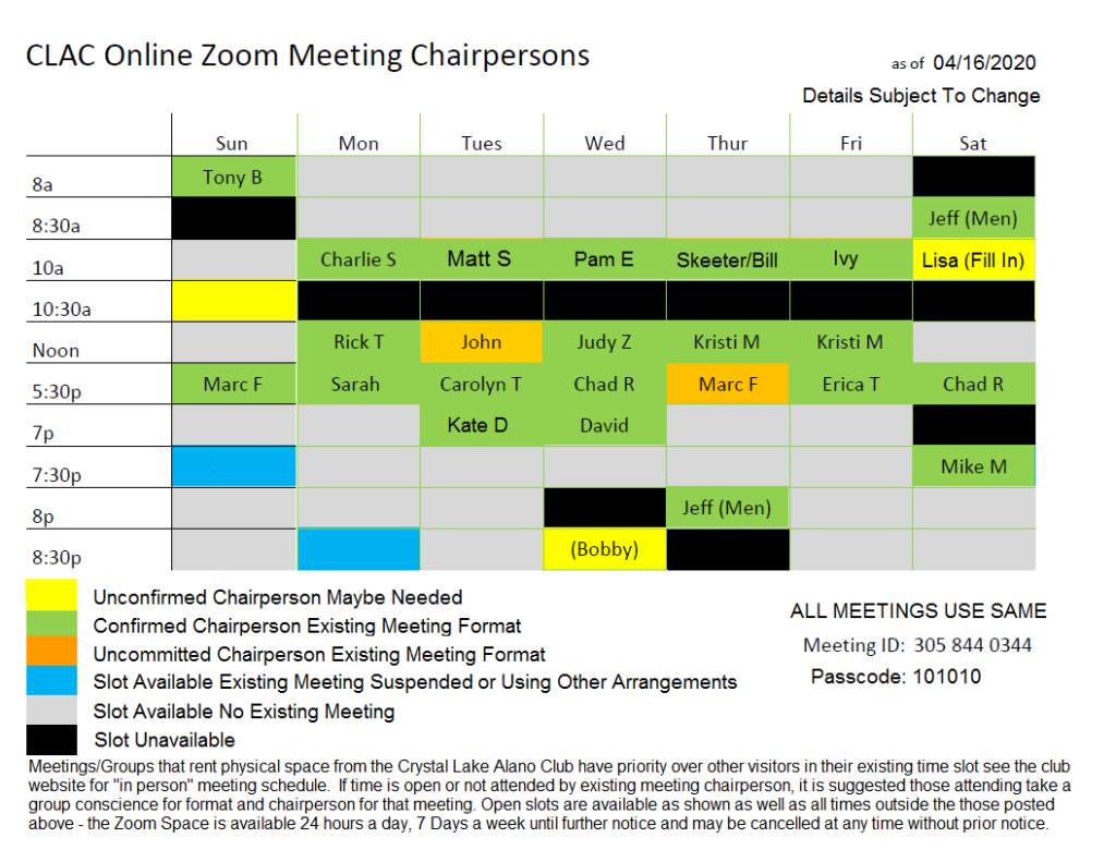 Zoom Meeting Times & Chairperson List